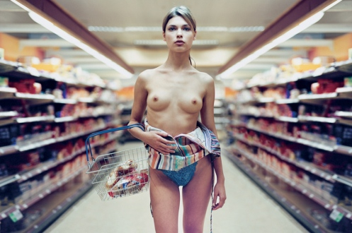 Topless Female Shopper